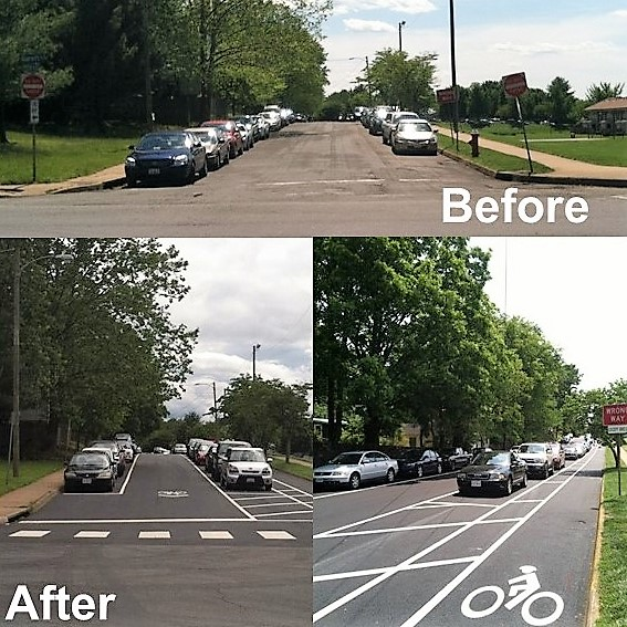 Charlottesville is investing in streetscape projects that help improve bicycle and pedestrian safety through new painted traffic lanes and street signs as seen on 6th Street (above).
