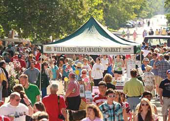 "Image from Virginia Town and City September Feature: ""Just another Saturday morning at Williamsburg's top 5 Farmers' Market."""