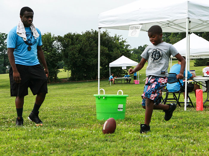 Kids and their families enjoy outdoor activities at the City's annual SportsFest. SportFest is one of the many free events the City offers to support healthy living opportunities for the entire community. Photo credit: The City of Gaithersburg.