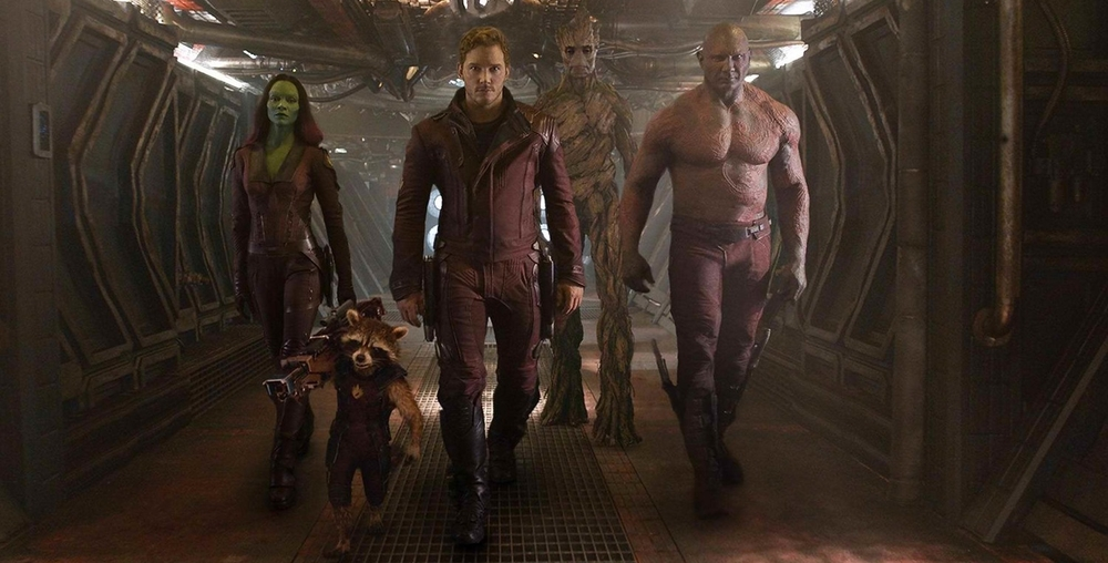 From Left to Right: Gamora, Rocket, Quill, Groot, Drax