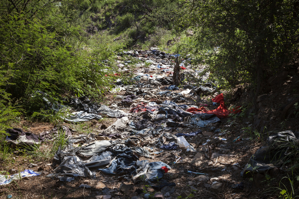 Debris Field Left By Migrants on U.S. Side of the Border, 2012