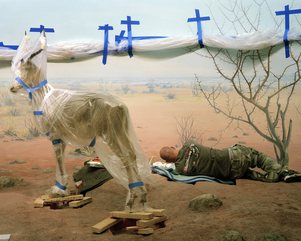 Richard Barnes, Single Ungulate and Man Amidst Crosses, 2008