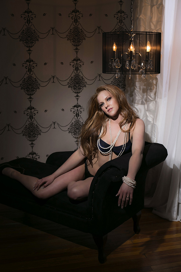 Chicago Boudoir Photography Setting with Couch and Lights