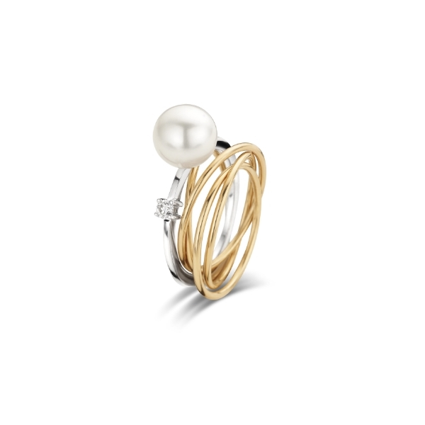 ring wit en roze goud 18kt, zoetwaterparel, diamant, 1750 EUR