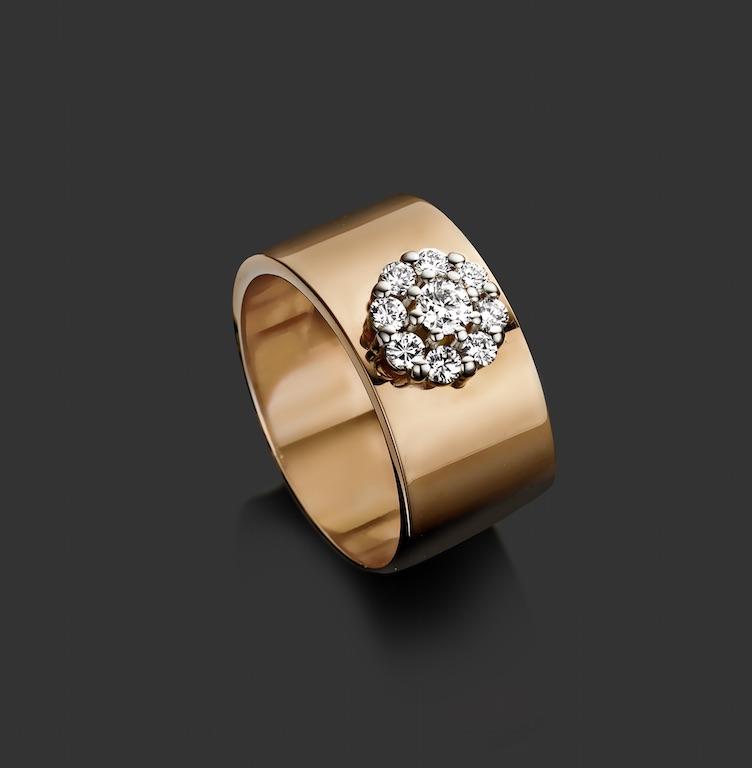 Ring roze goud, 18kt, diamant -€ 2600