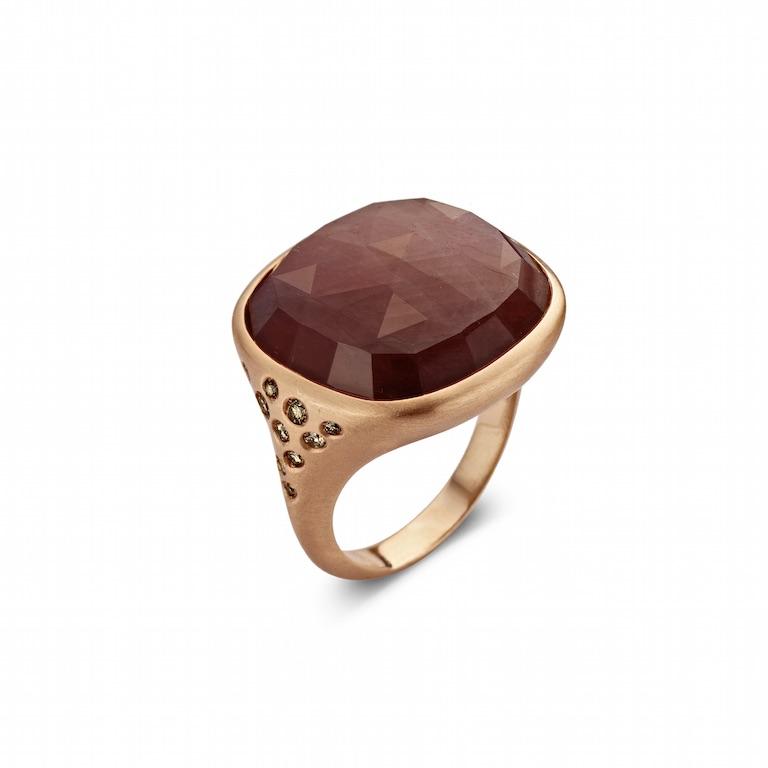 Ring 'Brusi', roze goud, 18kt, rode saffier, diamant -€ 2930