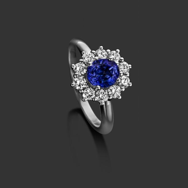 Ring, witgoud, 18kt, blauwe saffier, diamant - € 4740