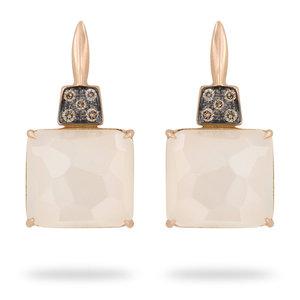 Brusi oorbellen maansteen en bruine diamant 1850 EUR