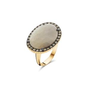 ring roze goud 18kt, grijze saffier en bruine diamant. 2250 EUR