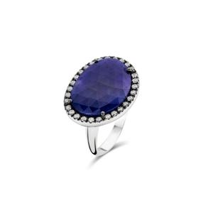 ring wit goud 18kt, blauwe saffier en diamant. 2940 EUR