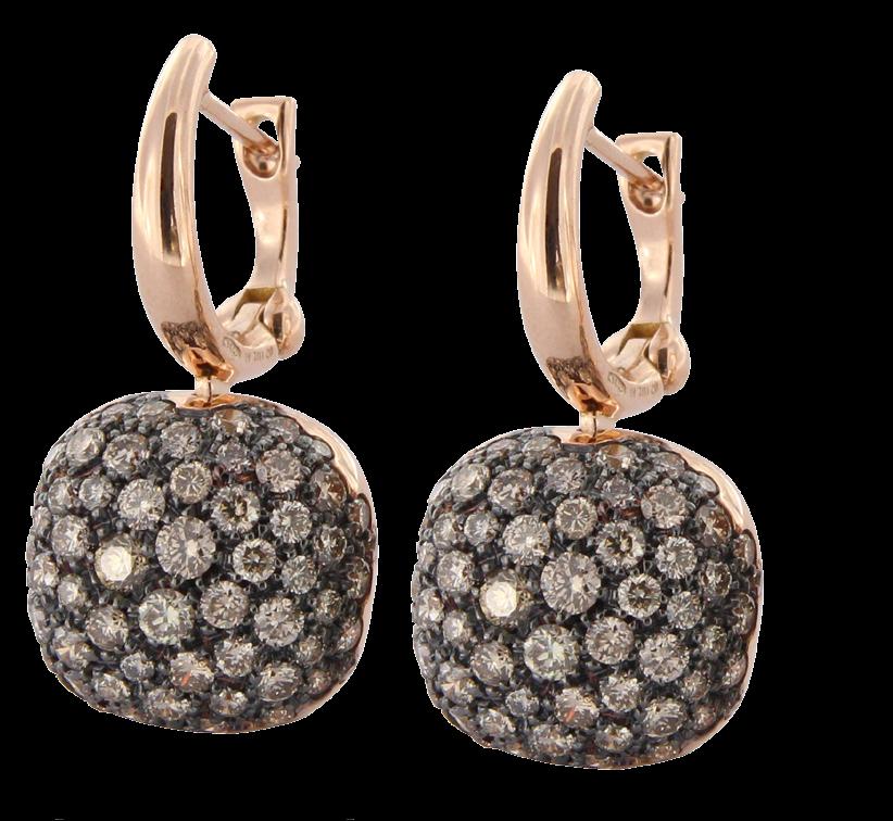 Oorbellen Brusi bruine diamant en roze goud