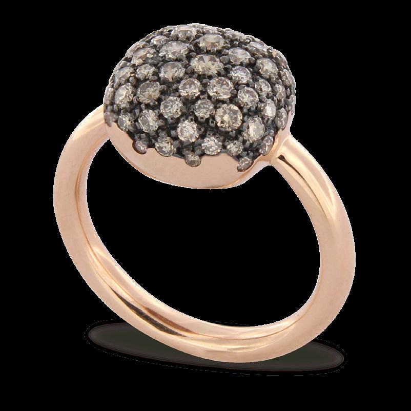 Ring Brusi bruine diamant, roze goud
