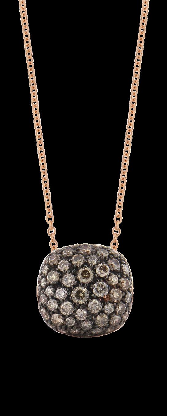 Hanger Brusi bruine diamant, roze goud