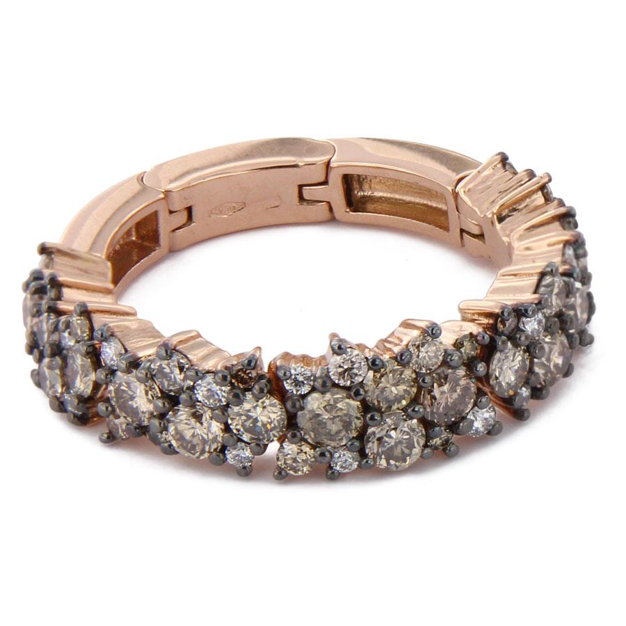 Brusi Brightfall' ringen in rosé goud met bruine diamant