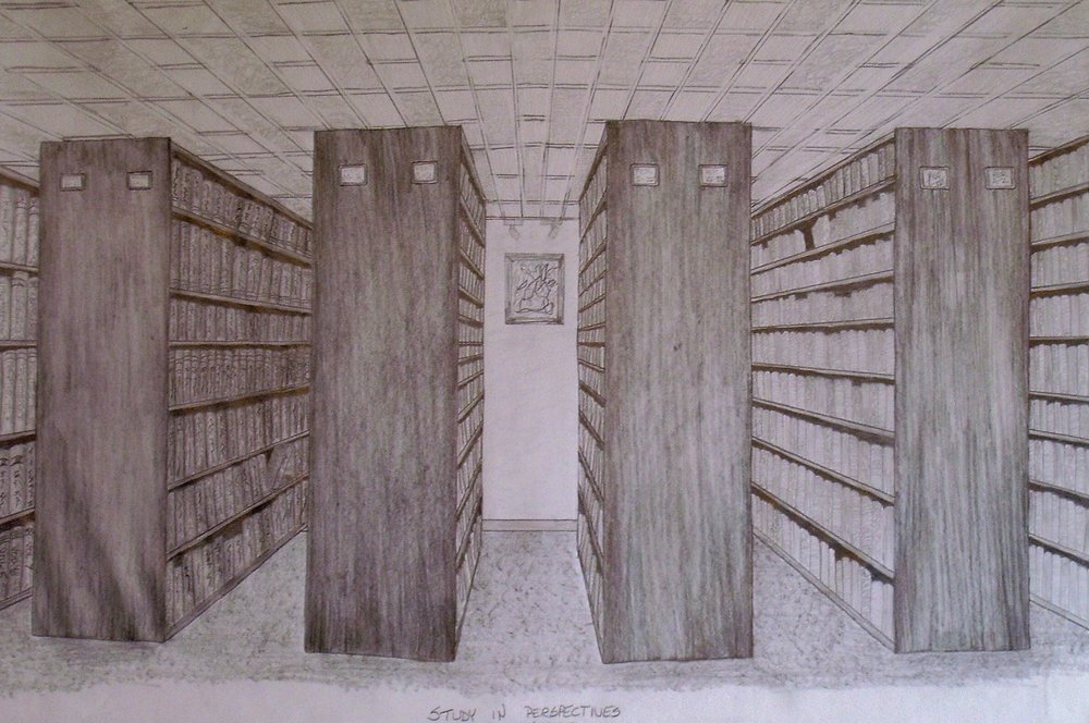 Perspective Exercise at The OWCC Library, Drawing 1 with Professor David Owens, Fall 1997