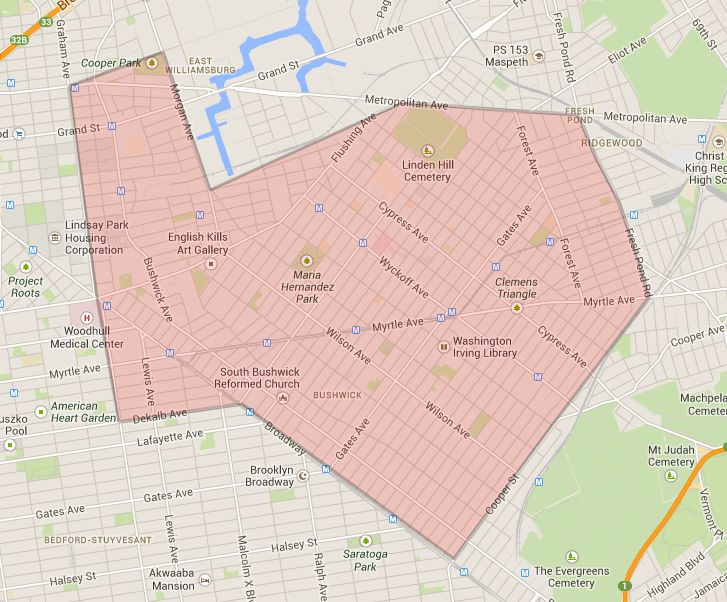 Bushwick Dog Walkers Service Map.png