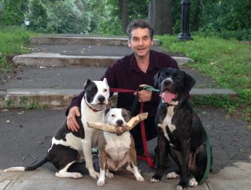 Mark with his dogs Tricky, Luna and Sadie