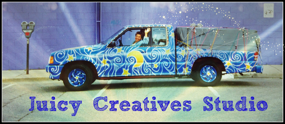 Elise in her Art-Truck 15 years ago -- come help create the new version of the Juicy Creative Studio art-car!!