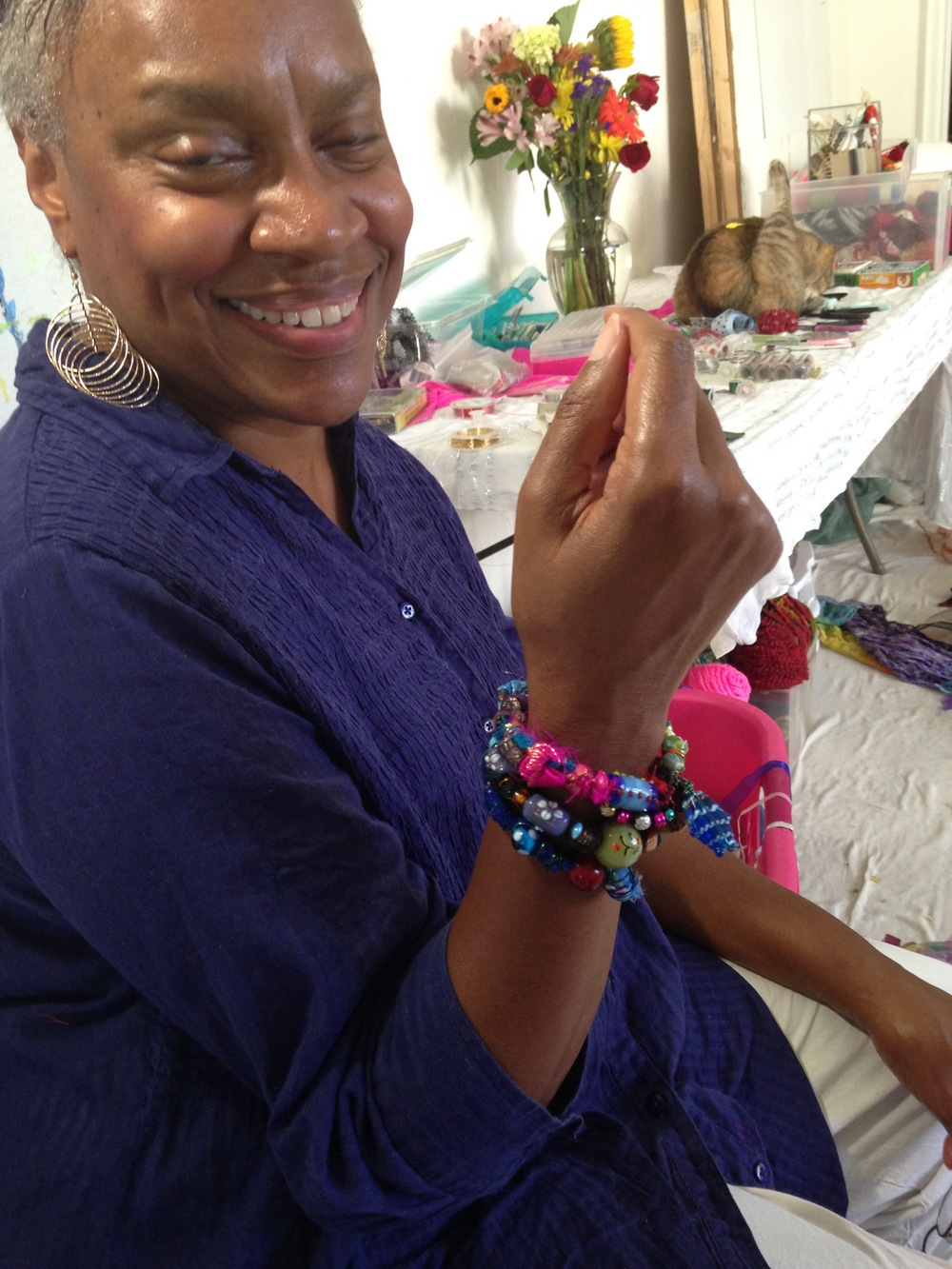 Meet Carol Moncrief co-host of the day and general instigator of the whole affair as she is always looking for another opportunity to make the Bohemian Goddess Bracelets! Carol is also a paper crafter extraordinaire and specializes in creating and teaching the craft of handmade greeting cards.