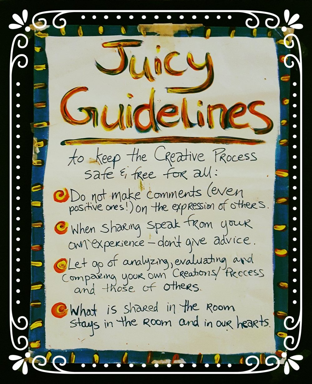 The guidelines we follow in all classes, workshops and open studios at Juicy Creatives!