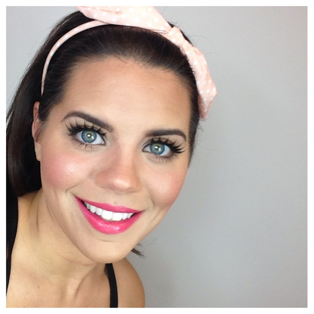 "Here I'm wearing Kardashian Beauty Lashes in ""Scintillate."" This look is from my video ""Bold lashes and lips."""