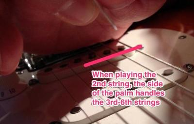 Muting strings with the picking hand