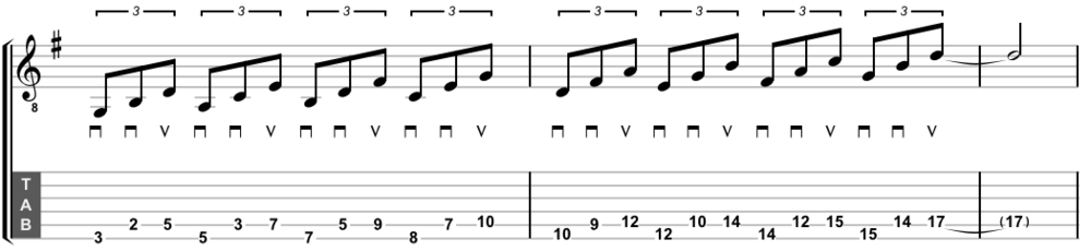 Two-string triads up the neck (variation)