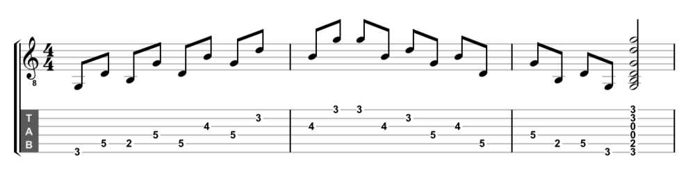 G Major arpeggio with alternating intervals