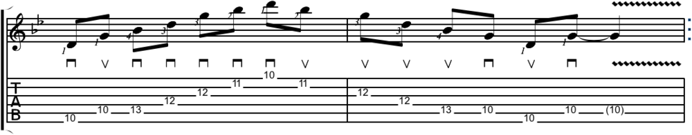 Picking and fingering G minor arpeggio at the tenth position