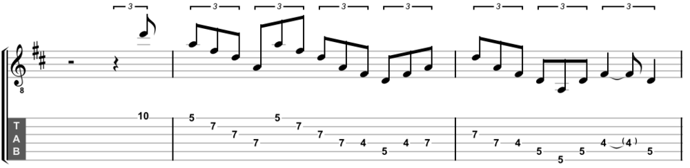 A D major arpeggio descending, with a little fretboard-stretching to boot.
