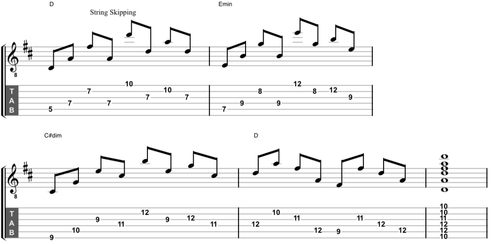 D major arpeggios with interval-skipping