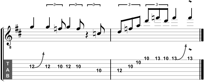 Blues 101 lick in D minor pentatonic, with a little D minor arpeggio flourish at the end