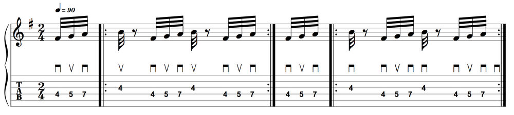 "Two ways to pick ""the burst""—alternate-picking and economy-picking"