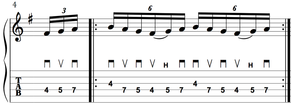 "The ""math"" of this lick requires some legato playing when using economy-picking"