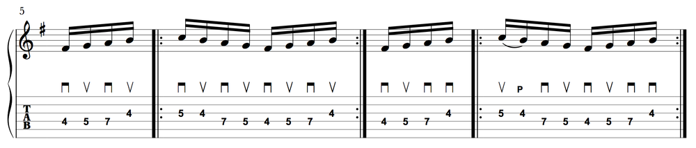 The five-note circular pattern