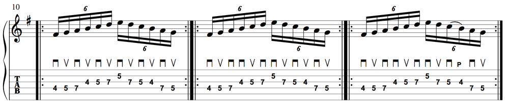 A seven-note pattern across three strings