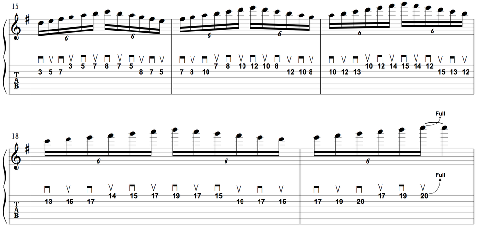 A big ol' spidery lick, played entirely with alternate-picking