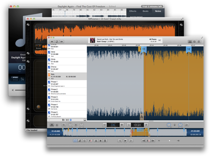 Anytune, RiffStation and Capo are all highly-capable tools