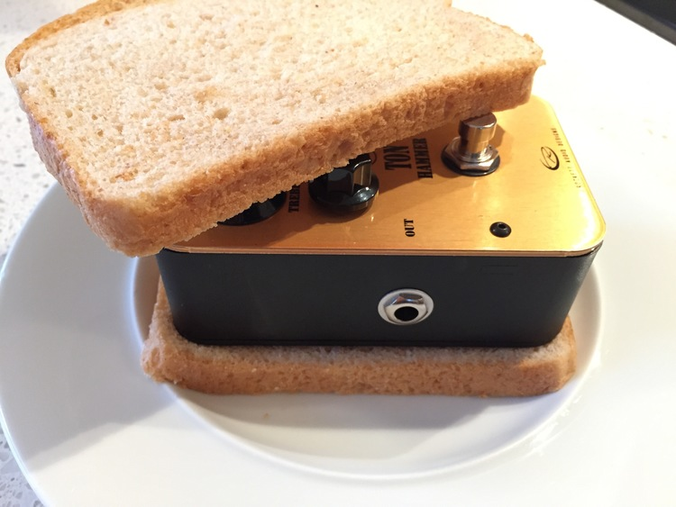 This distortion pedal makes a terrible sandwich, but produces a very tasty tone.