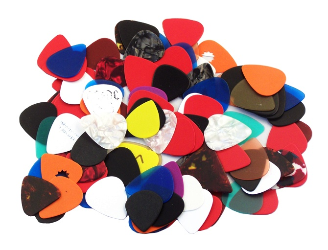 Guitar picks come in a dizzying array of shapes, materials and sizes. Try them all!