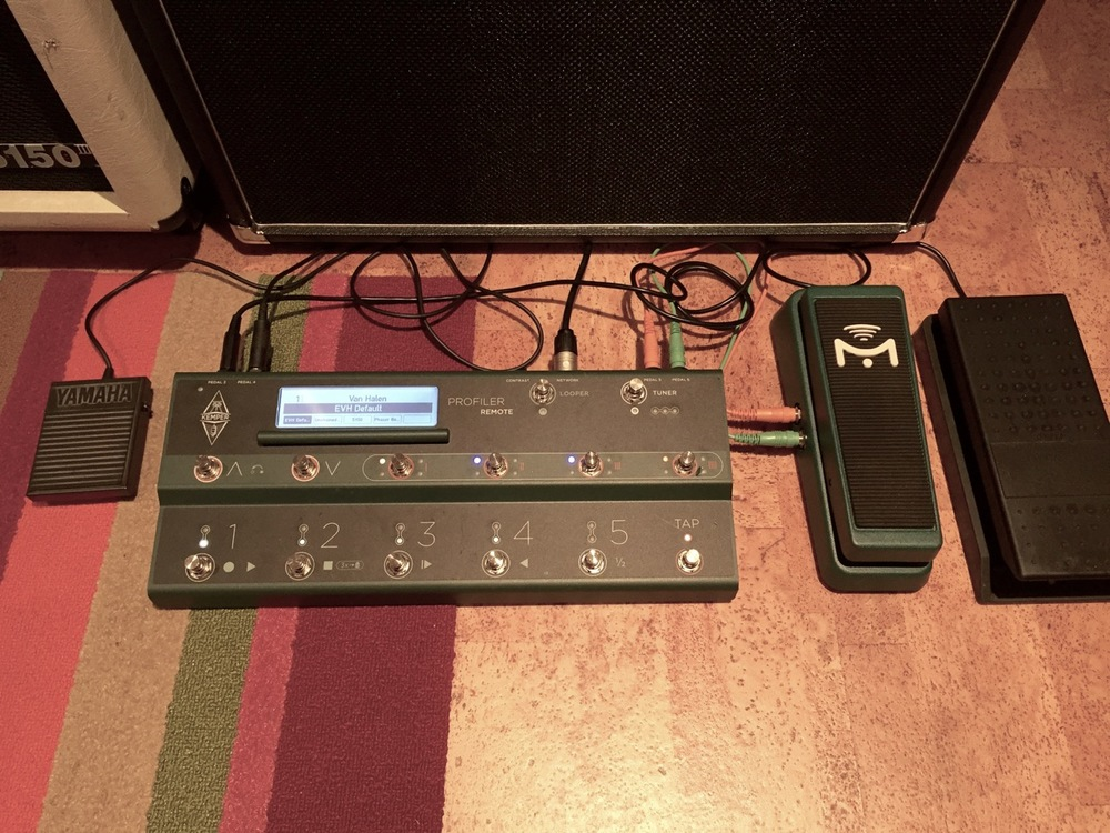 The Kemper Profiler Remote offers a much slimmer and simpler alternative. It has one connection to the amp and the other pedals connect to it resulting in much fewer chances to trip on-stage.