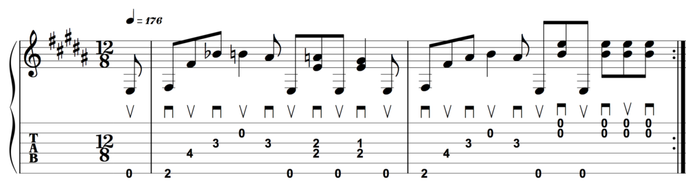 The key to getting this to work with alternate-picking is really feeling the groove.