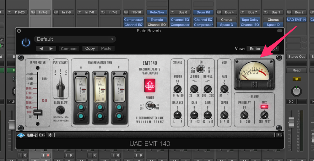 Bus 2 is the dedicated reverb channel, rocking UAD's EMT plate reverb plugin.