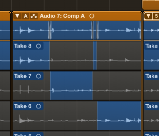 """Comping"" multiple takes into a single track is a snap in Logic"