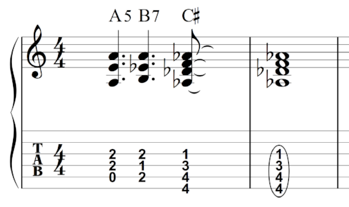 Re-voicing the bass notes in this chord progression offered a nice change-up and segues well into the next section.