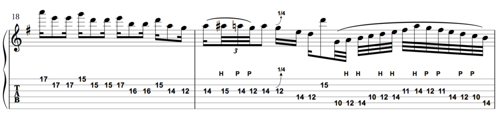 The first bar descends out of the harmonized crescendo, the second ascends with another legato flourish