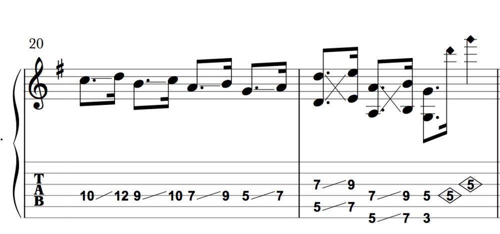 Apply pinch-harmonics in the first bar early and often!