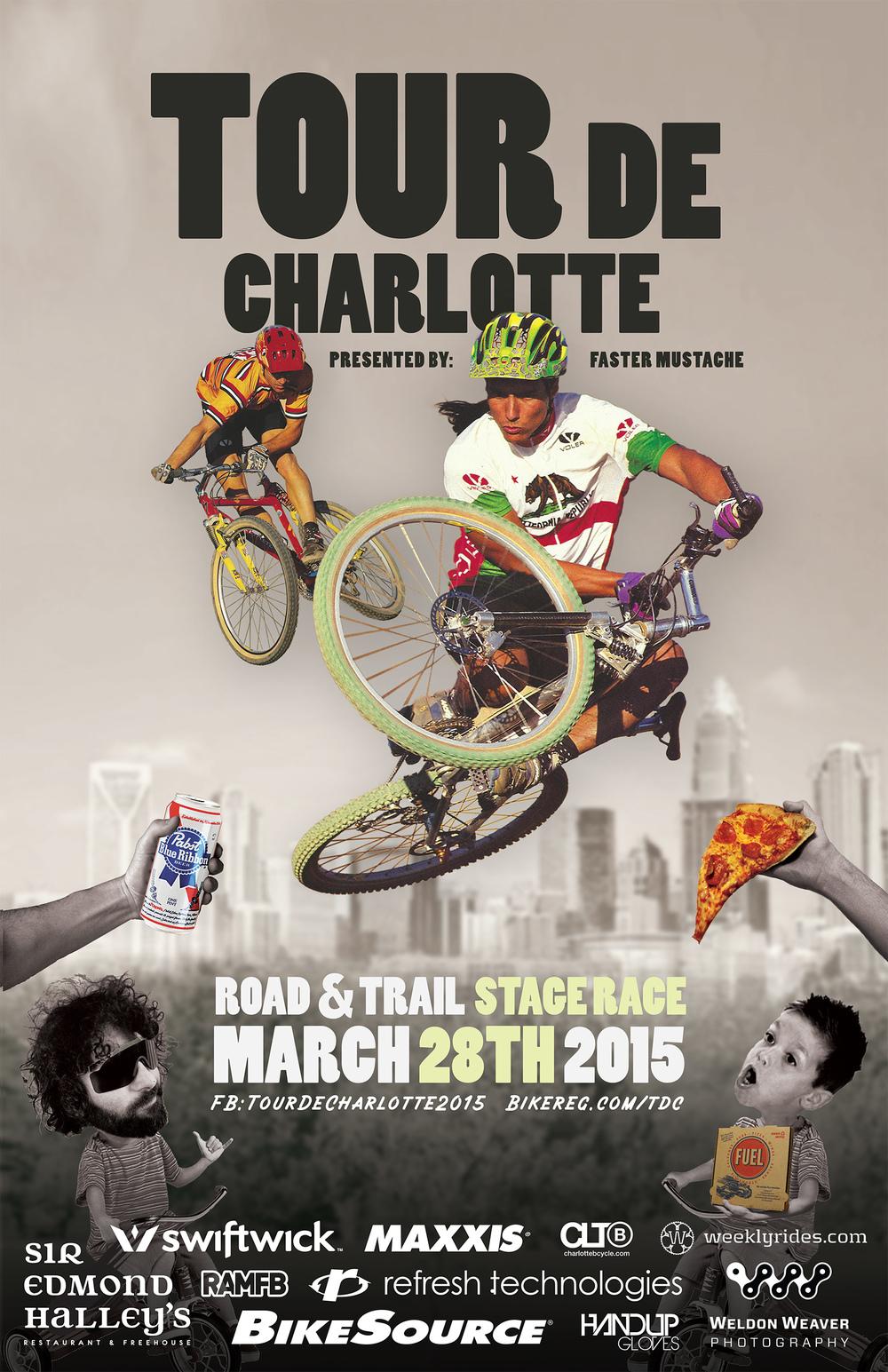Tour de Charlotte 2015 poster art by Paw Cunningham