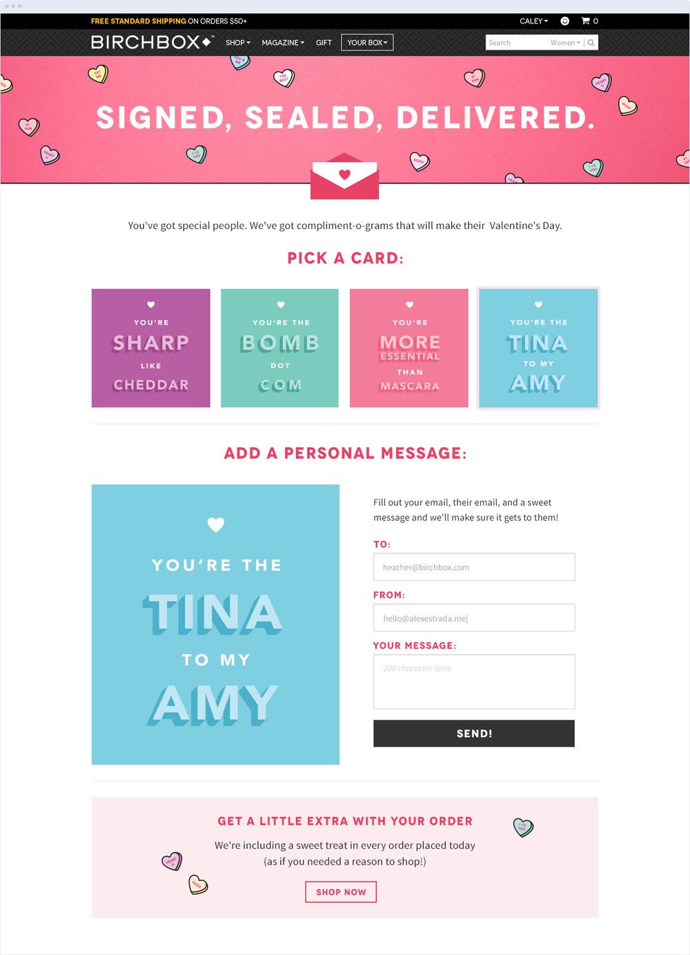 Valentine's Day E-Greeting Site Design