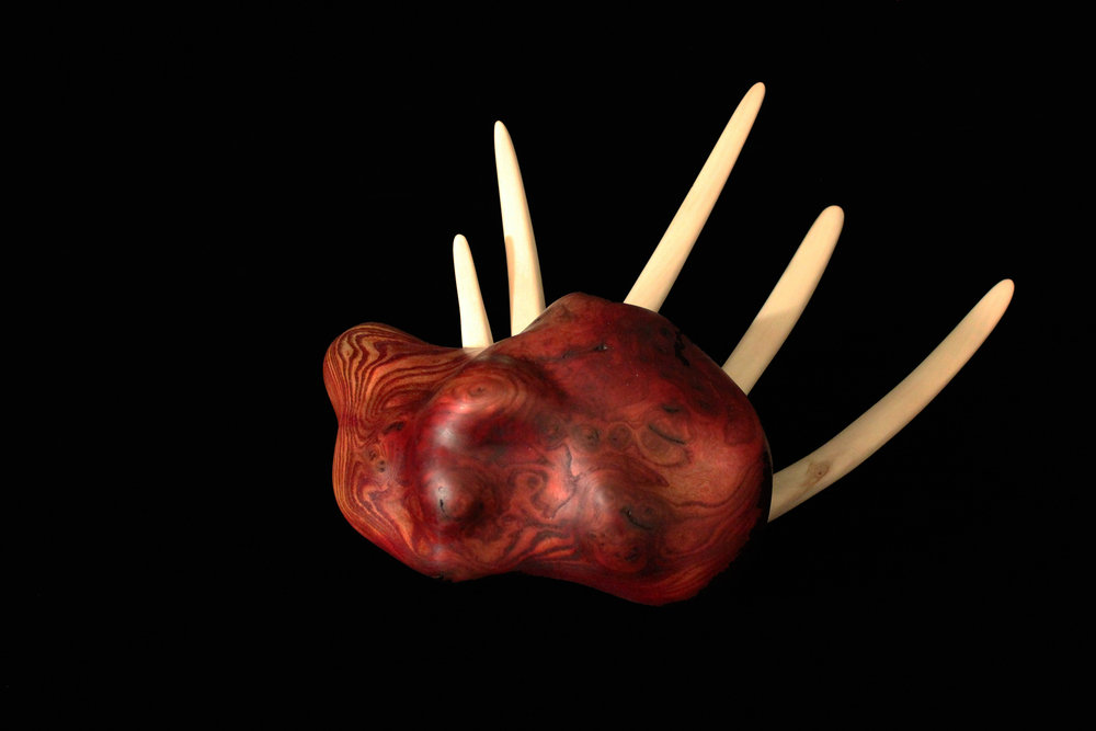 "Guard your Heart, 2013. 7"" x 9"" x 16"" Carved Mahogany burl, Basswood."